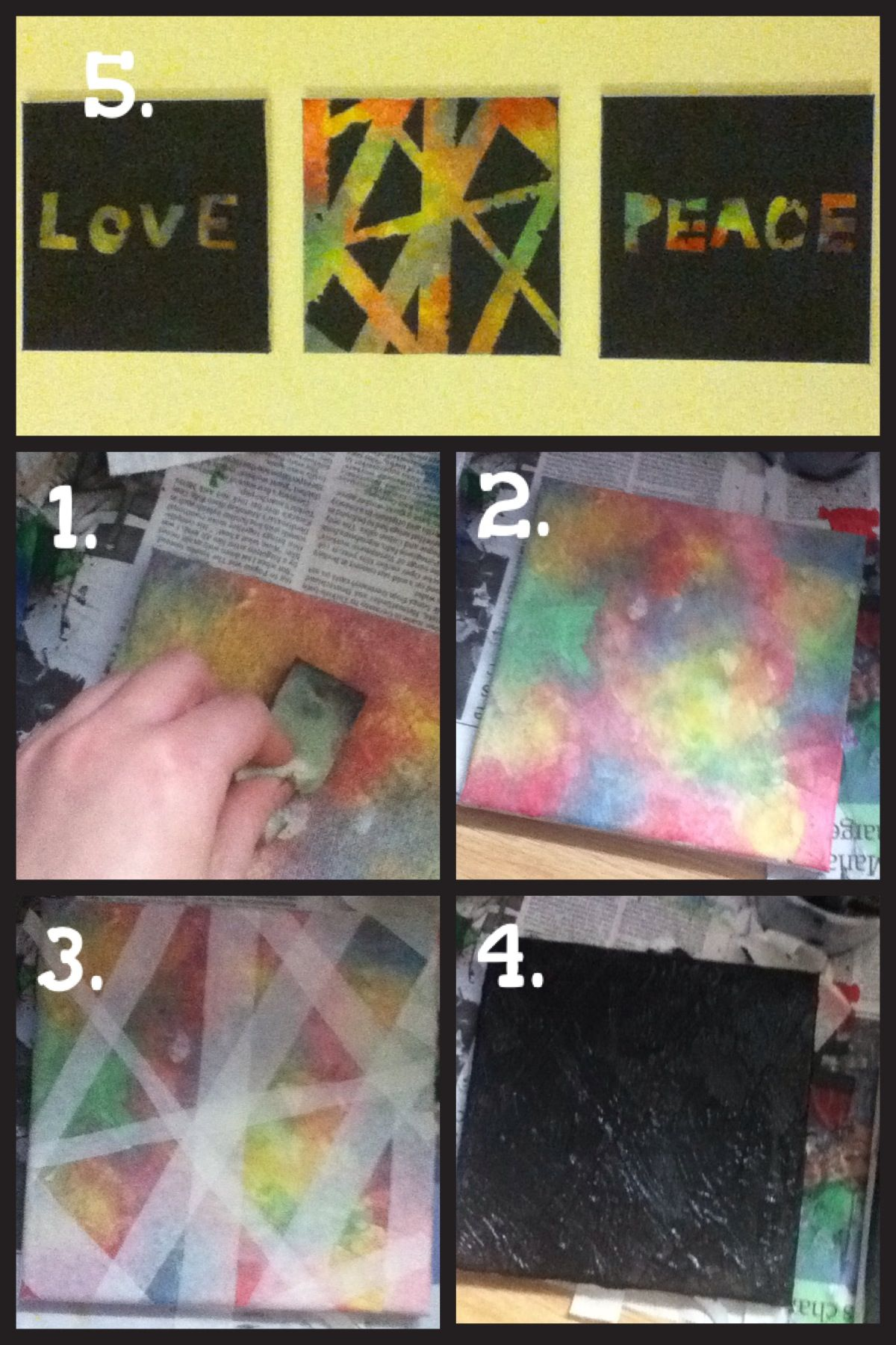 1 Decorate Your Canvas By Sponging On Different Colours Of Paint 2 Then Complete All Of It And Leave To Dry 3 Now Put Mask Peace And Love Wall Art Colours