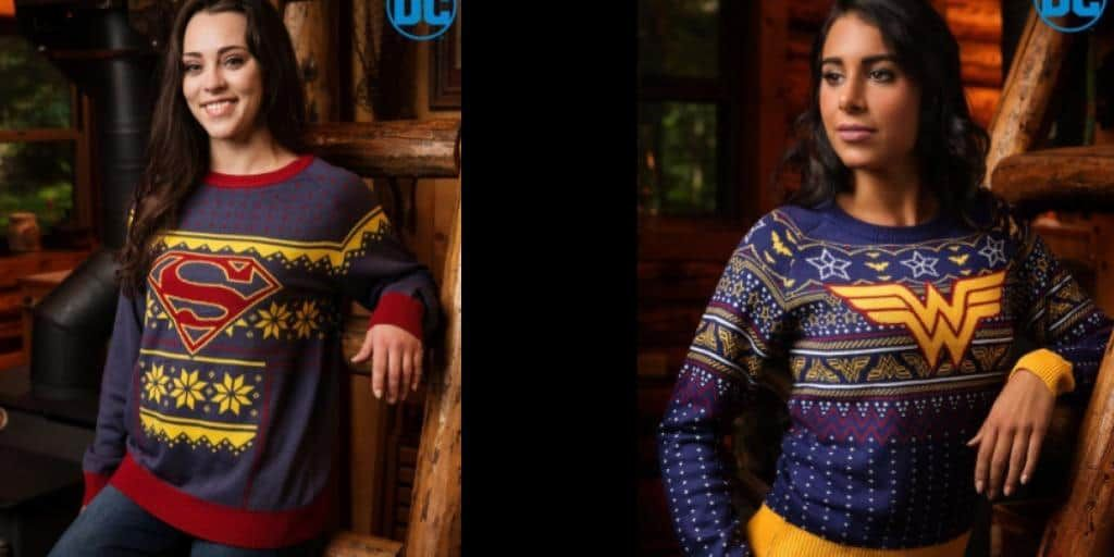 funcom has debuted their huge selection of ugly holiday sweaters including superman and wonder woman who will always be ready to save christmas