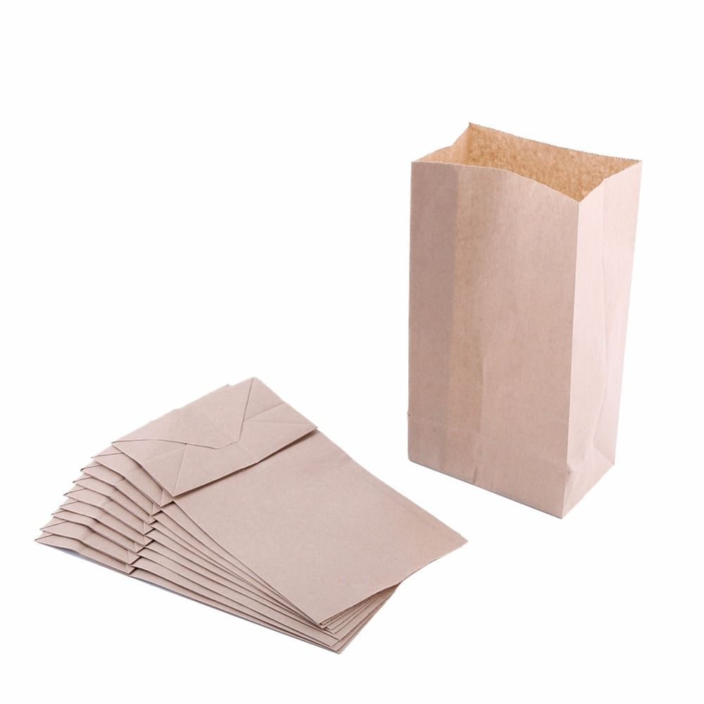 10pcs Brown Kraft Paper Bags for Wedding Party Treat Gift Food Bread ...