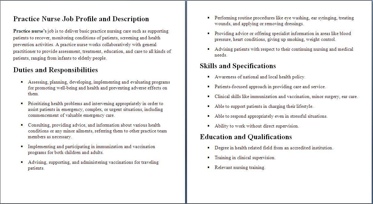 Job Descriptions Nurse Job Description Nursing Resume