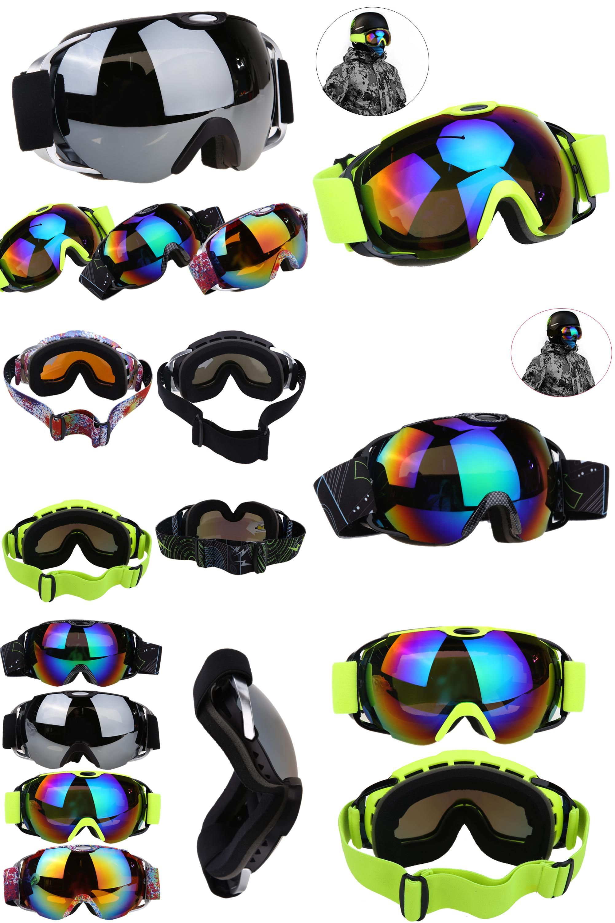3c3fb31674d0  Visit to Buy  Unisex Double Lens Ski Goggles UV400 Anti-fog Spherical Anti