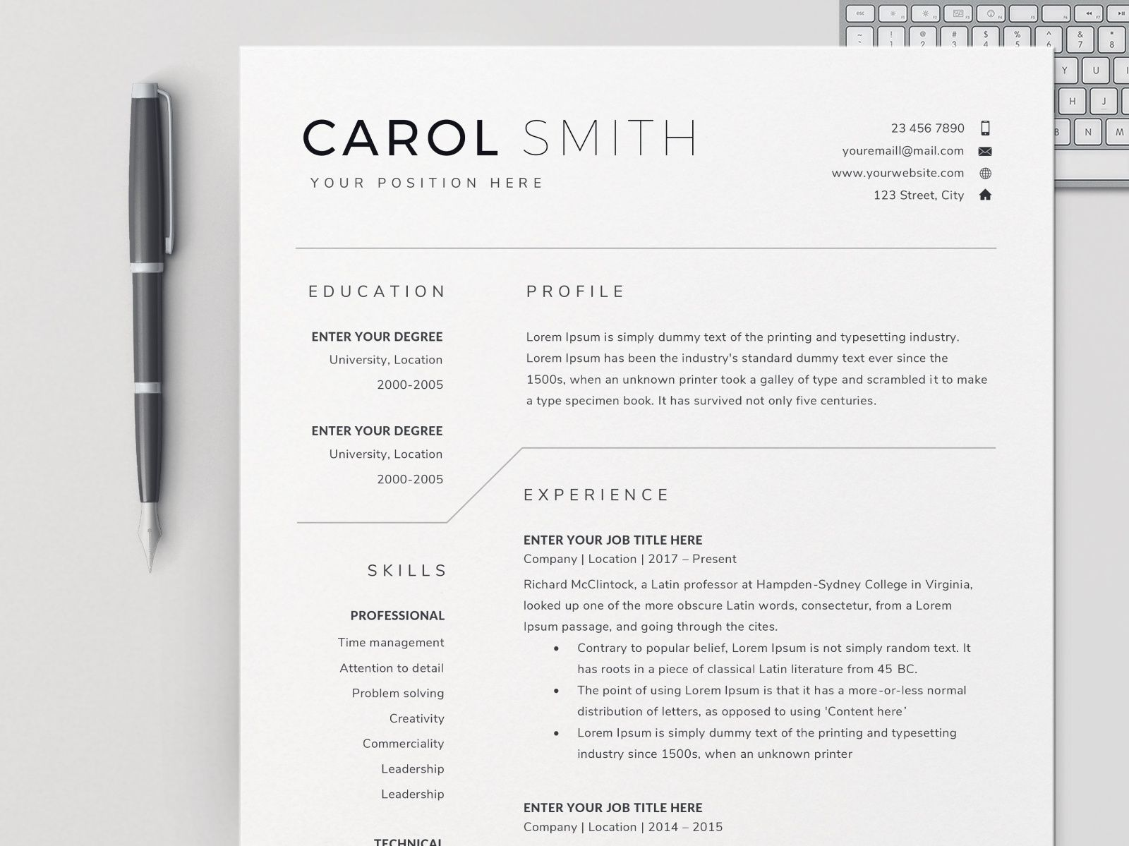 resume template bundle    cv  with images