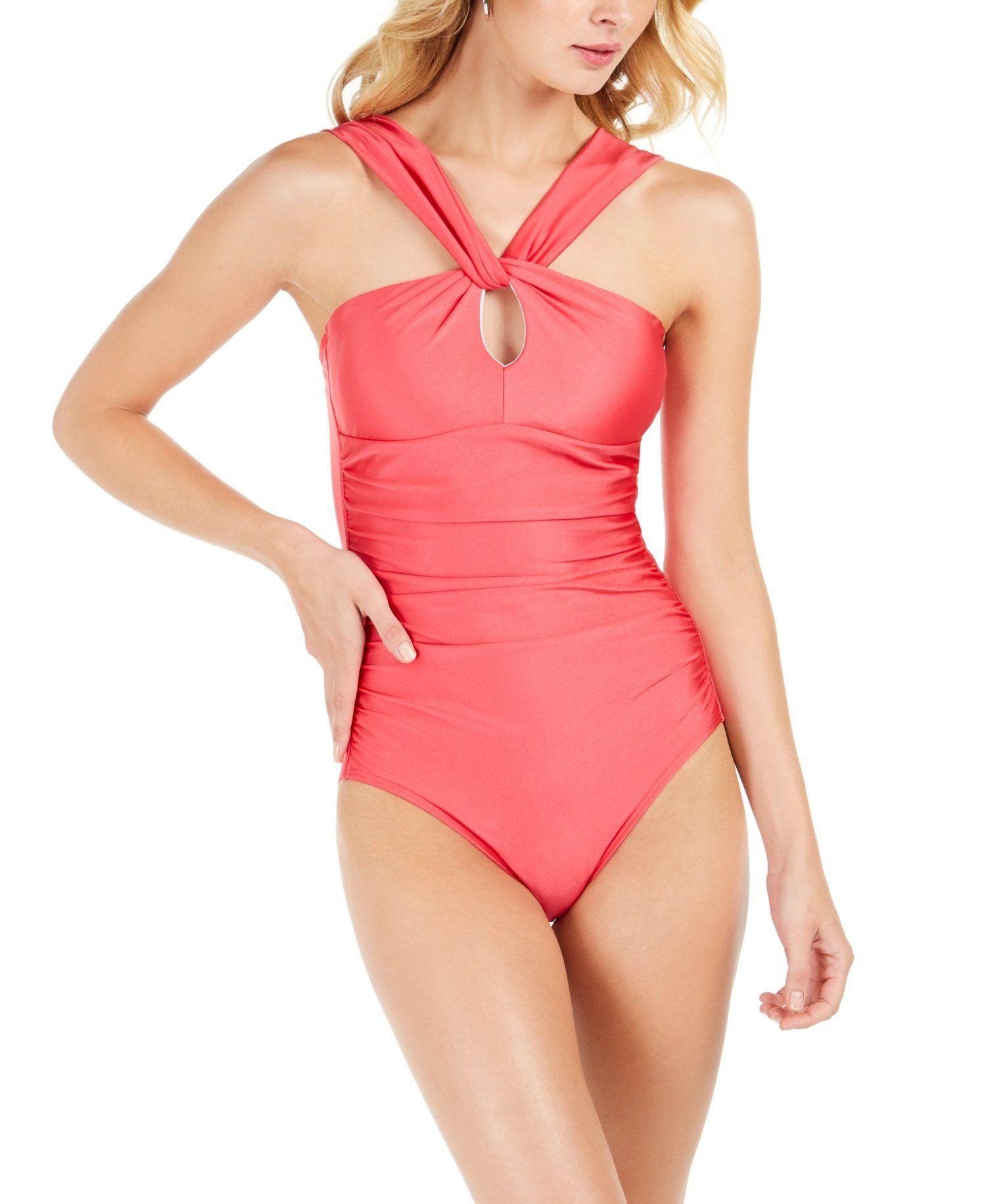 Calvin Klein Santorini Convertible One Piece Swimsuit Pink 12 In 2021 Women Swimsuits One Piece Swimsuits