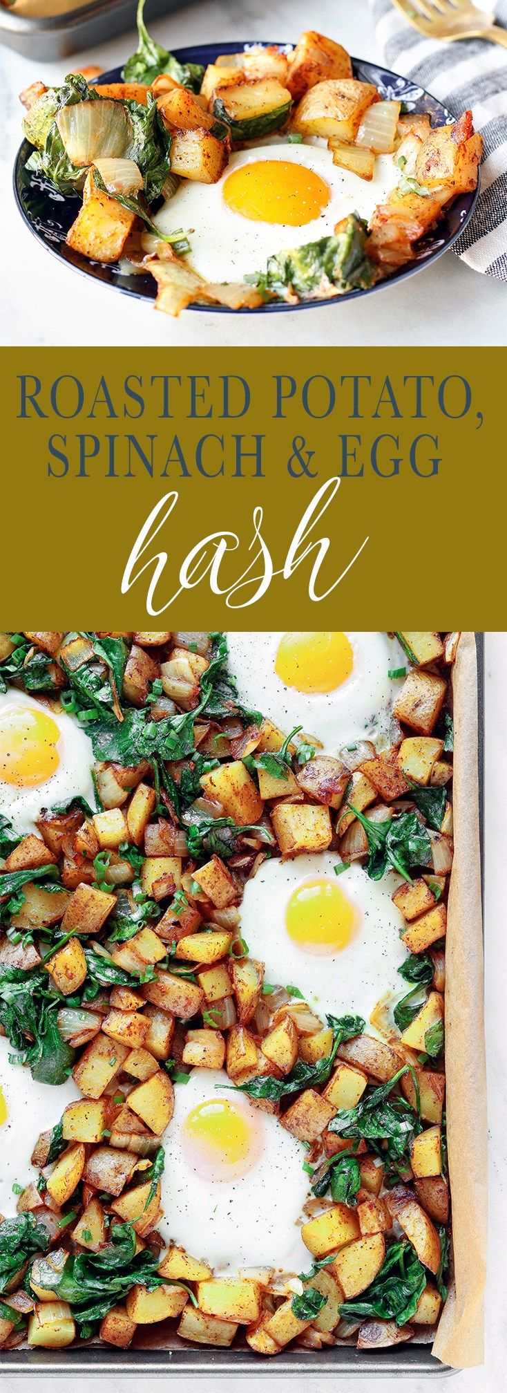 Roasted Potato, Spinach and Egg Breakfast Hash