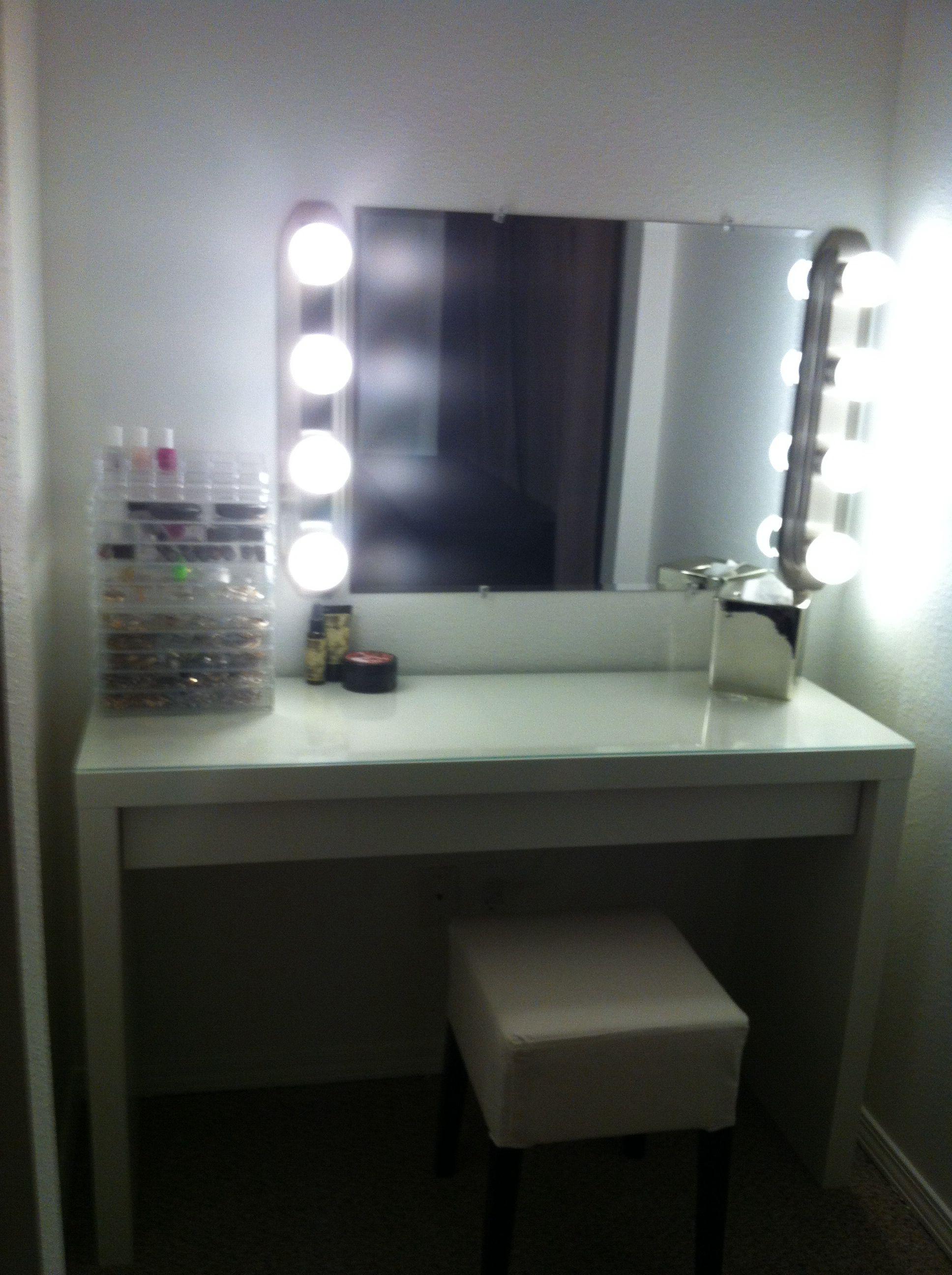 DIY makeup mirror 2 bathroom light fixtures and beveled
