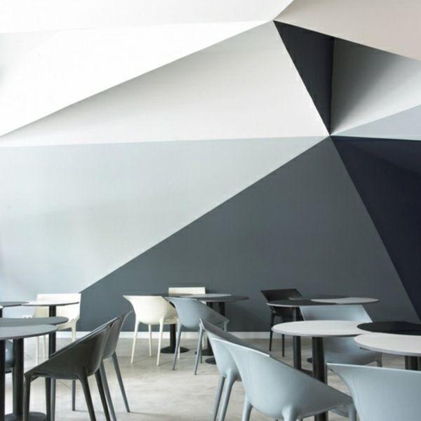3D Wand Streichen Ideen Schwarz Grau Weiße Farbe