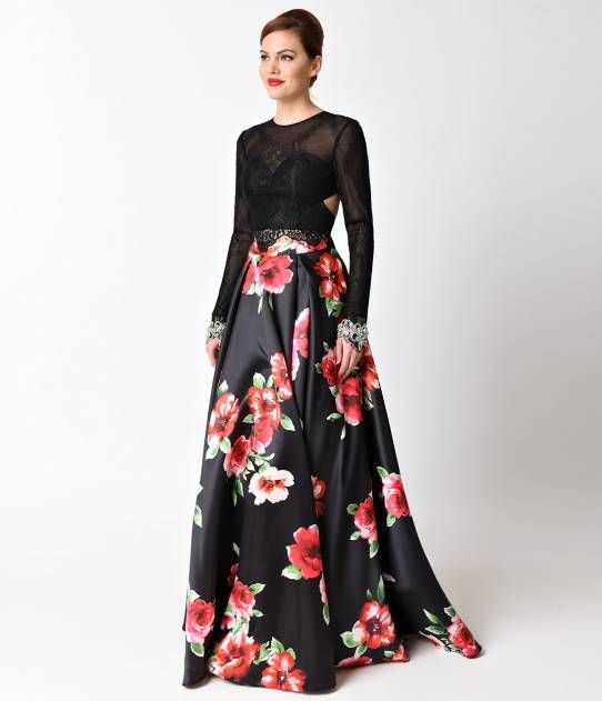 3007d23f1457 Black Floral Print Long Sleeve Two Piece Gown For Homecoming 2017 ...