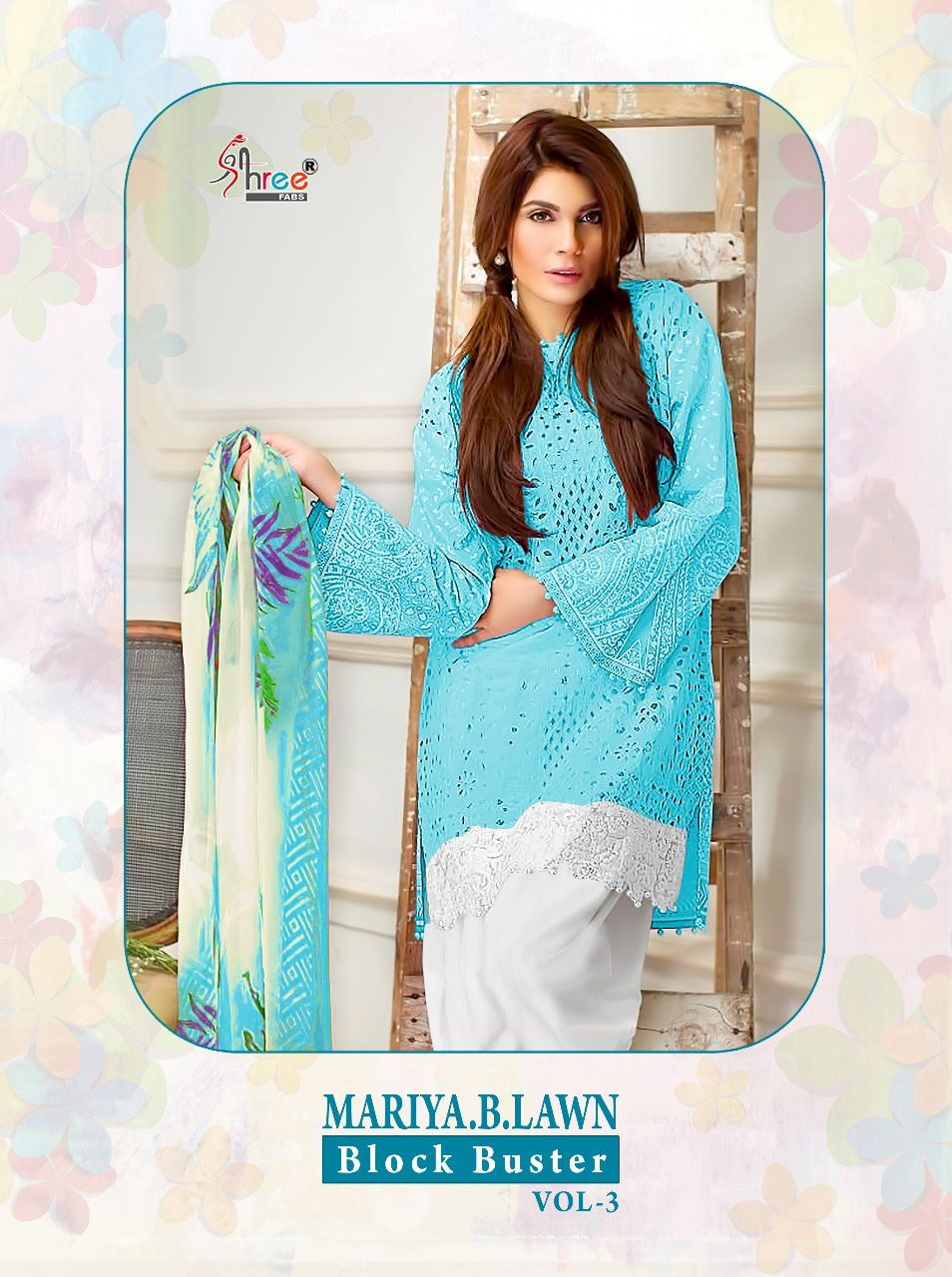 7152279bd6 SHREE FABS MARIYA B LAWN BLOCK BUSTER VOL 3 PURE COTTON WITH EMBROIDERY WORK  PAKISTANI SUITS