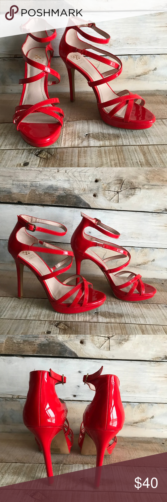 1ae8d3604702 Vince Camuto Red Strappy Stiletto Heels 7.5M These stylish   sexy Vince  Camuto heels are in great condition! Only worn once or twice.