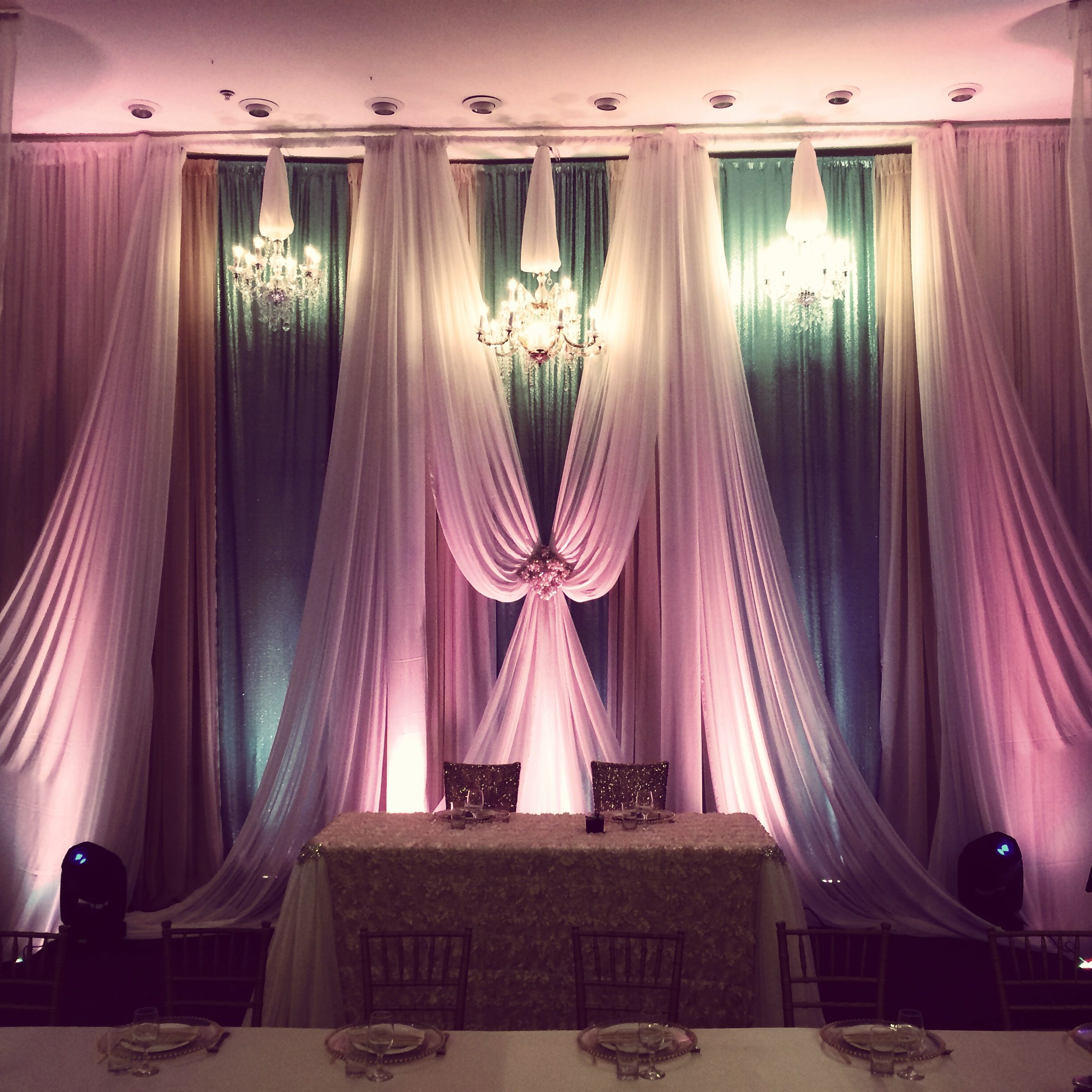 Diy Drapes For Wedding: Mint And Coral Drapery At Cupertino Dynasty