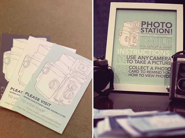 Ash and Jamie wedding - love the paper, vintage cameras, colors, and dresses!
