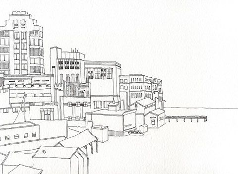 black and white drawing of seattle
