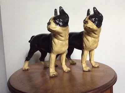 Antique-Pair-of-Hubley-Boston-Terrier-Doorstop-Banks - Antique-Pair-of-Hubley-Boston-Terrier-Doorstop-Banks Cast Iron