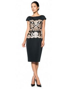 Tadashi Shoji Neoprene and Metallic Lace Dress