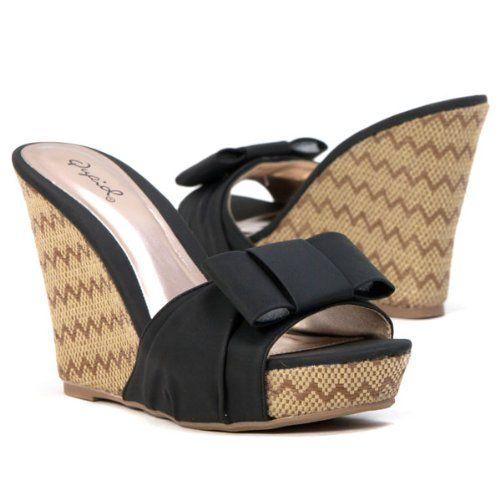 3c019fd0aa0 Amazon.com  Qupid Women s High Heel Woven Platform Sandal Open Toe Black  Wedge Bowtie