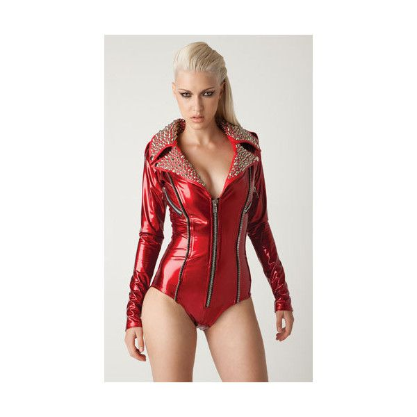 Red Vinyl Moto romper bodysuit with Silver studs on leather collar ( 400) ❤  liked on Polyvore featuring outerwear 85911a729