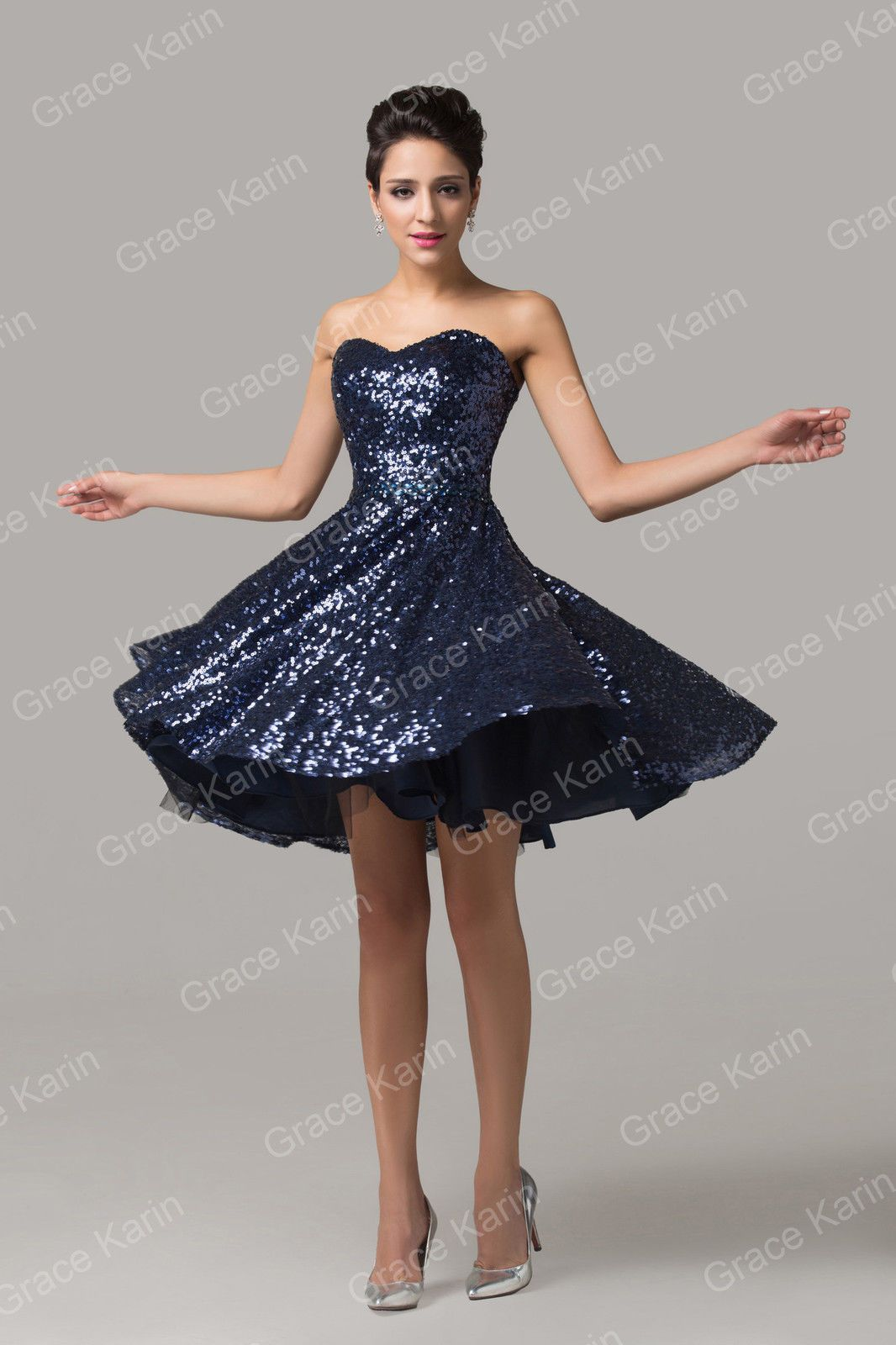 ❤Stunning❤Sequin Short Formal Evening Gown Bridesmaid Party ...
