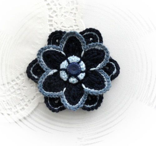 HAND CROCHET FLOWER BROOCH APPLIQUE NAVY FLOWER | eBay