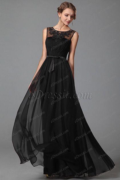 eDressit Negro Vestido Largo de Fiesta con Encaje Una Línea (00152800)