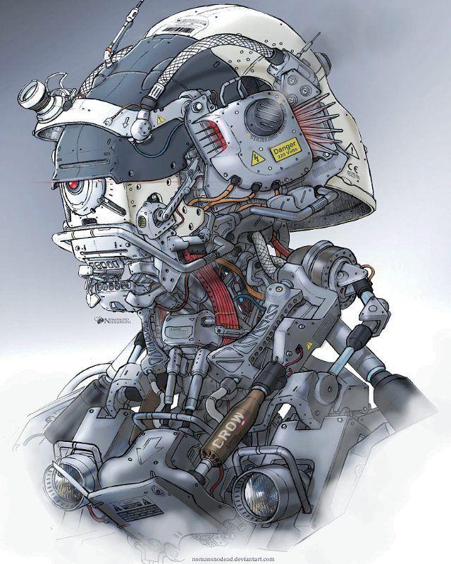 a headbot mech scifi drone droid armor robot drawings characterdesign soldier head conceptart digitalpainting artist