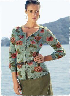 10d2faf89c Pima Cotton Rose Cardigan. Shop Women s Art Knit Cardigans   Sweaters Knit  in Spring   Summer Weight Peruvian Alpaca or Pima Cotton.