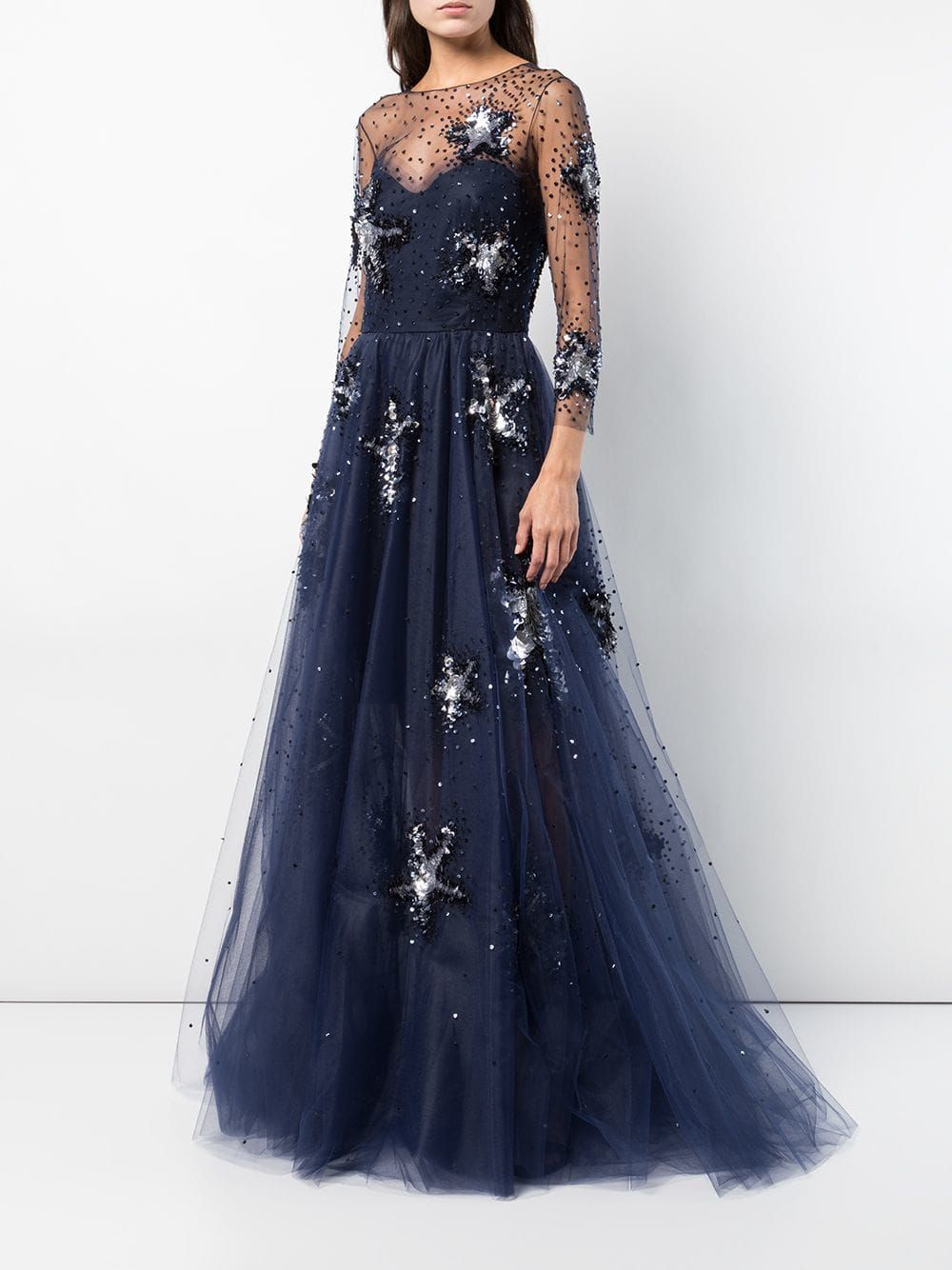 Oscar de la renta sheer sleeve starfish embroidered gown in À