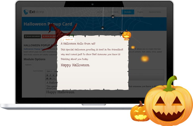 Cool style the halloween message comes up with dark witch hat cool style the halloween message comes up with dark witch hat hanging black spiders and cute smiling pumpkin creepy music can be turned onoff on m4hsunfo