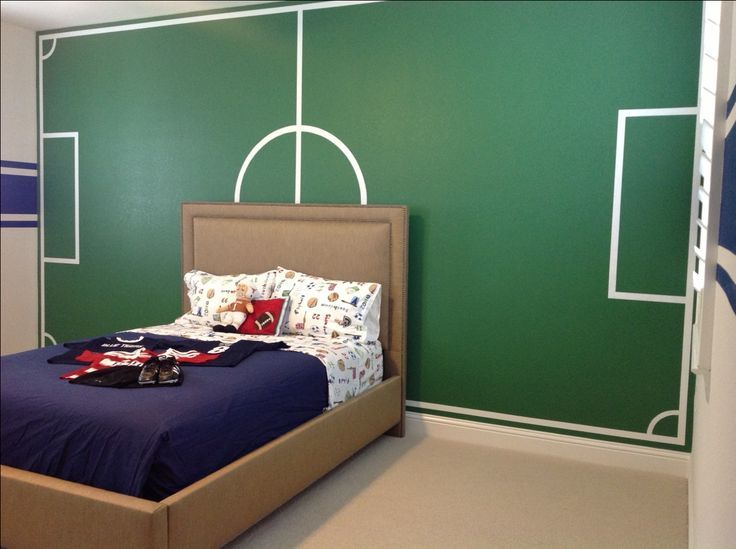 Simple Soccer Bedroom With Field Wall Mural images