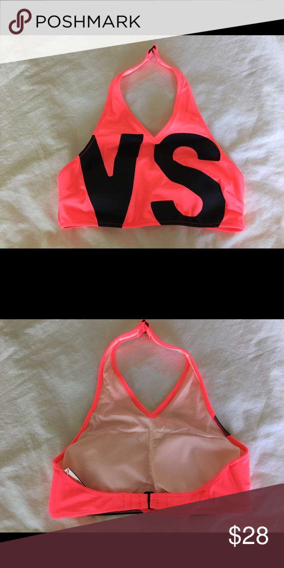 Victoria/'s Secret Hot Pink w// Black Logo V High Neck Bikini Top