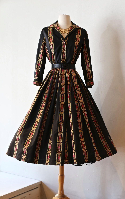 Vintage 1950s David Barr Pavion Silk Shirtwaist Cocktail Party Dress ...