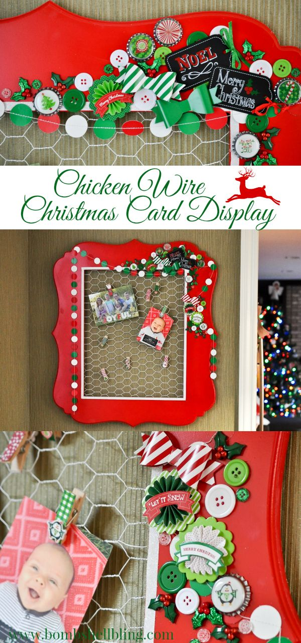 I am so in love with this cheery chicken wire Christmas card display ...