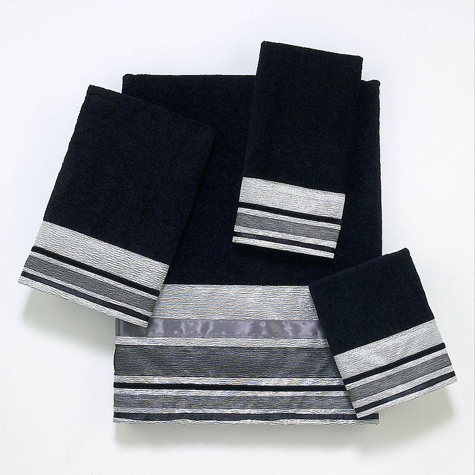 Avanti Geneva Fingertip Towel In Black Silver Black Silver