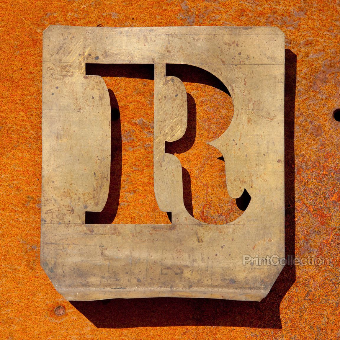"Large Metal Letter R Letter ""r"" Copper Type Stencil  Stenciling Collection Letter And"