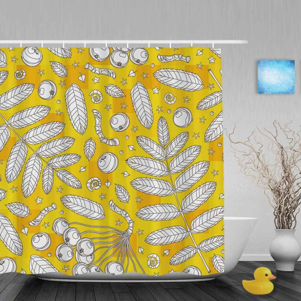 Bright yellow star leaves decor bathroom shower curetain sketch