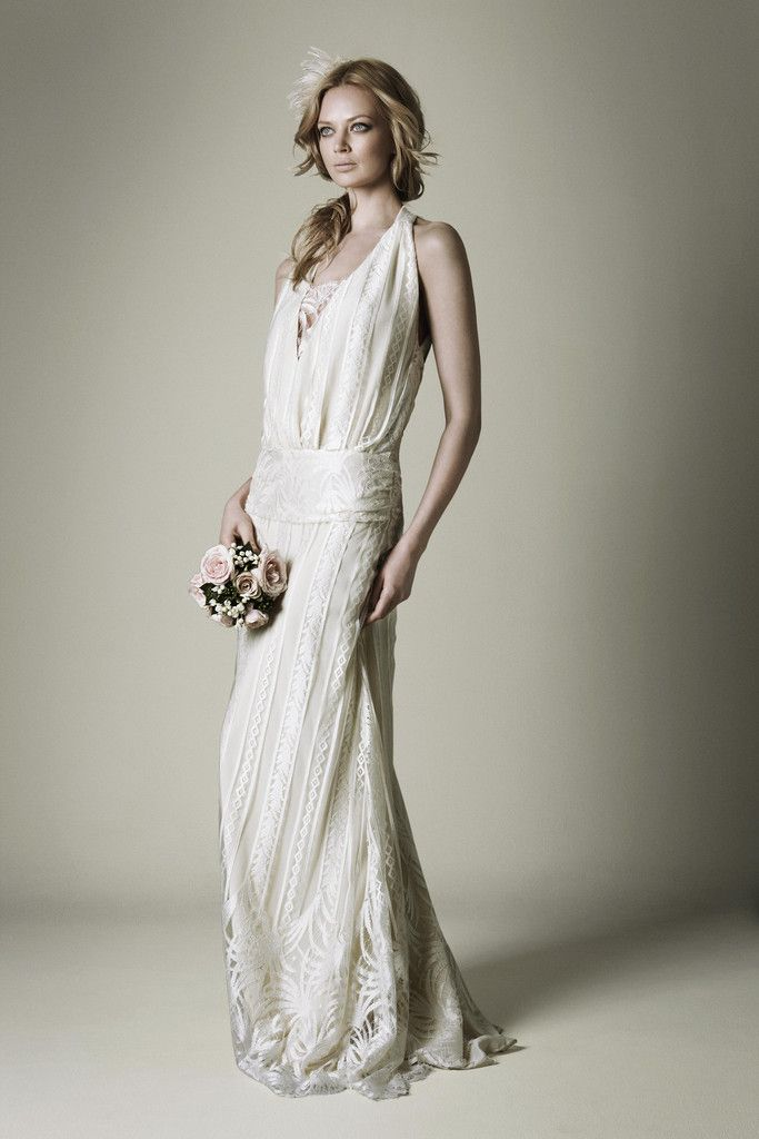 1920s ivory lace wedding dress with halter neckline | Just in case I ...
