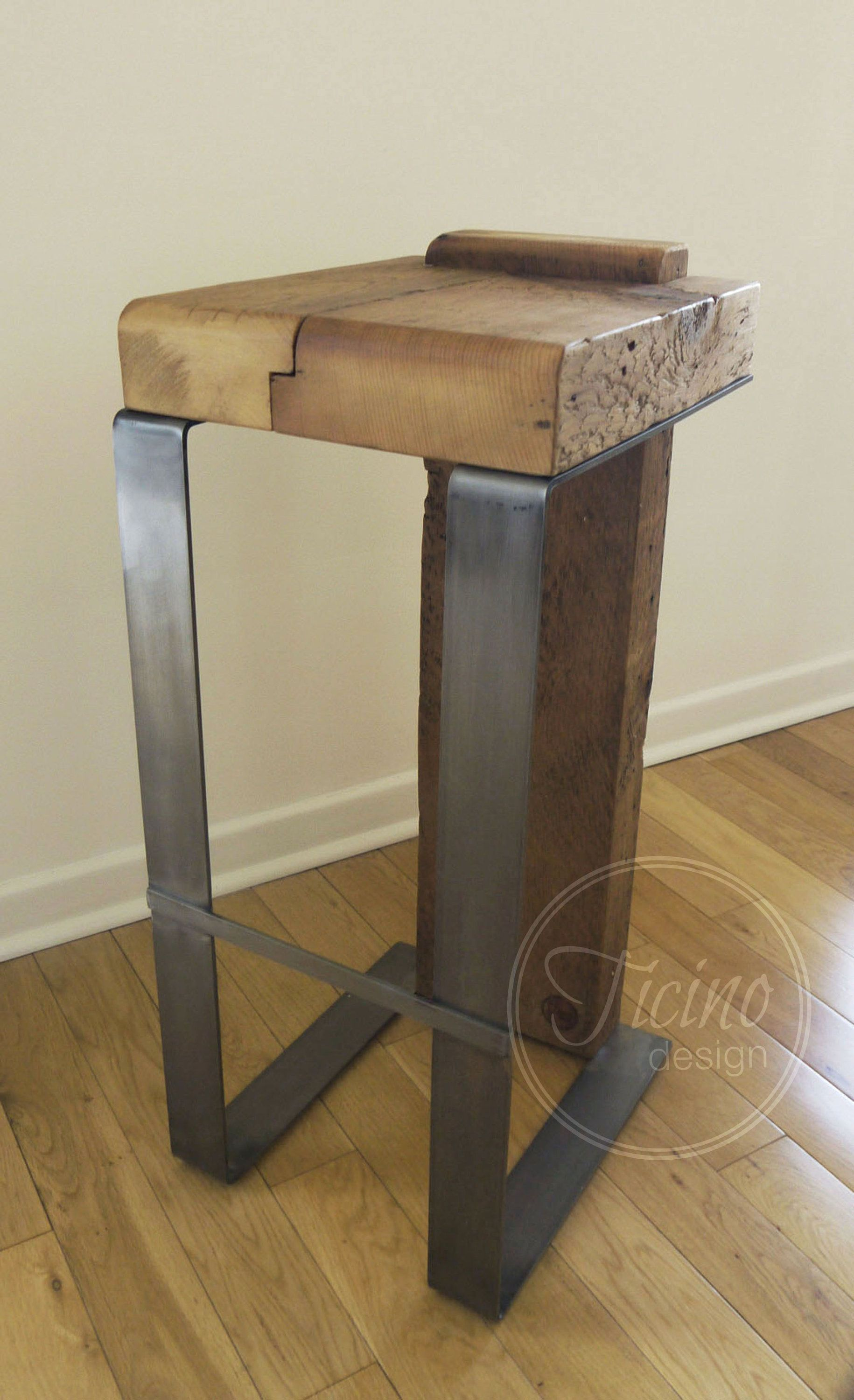 Rustic Bar Stool Reclaimed Wood Metal Bar Stool Industrial Bar