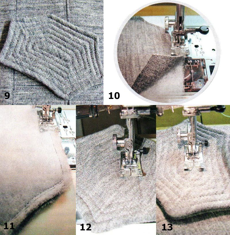 Finishing of knitwear; Quilted details [Translation]  To get the volume element for decorating articles of knitwear (Fig. 9), you will need padding polyester or other bulking agent. Configuration details may be different, as well as its size.