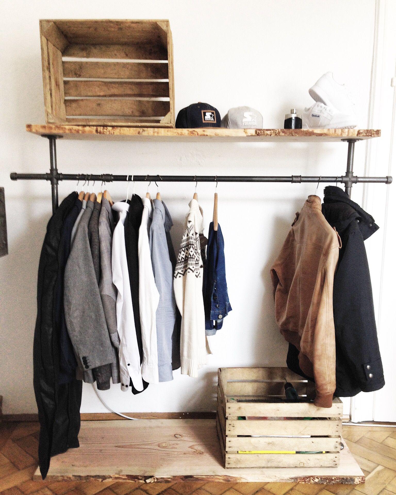 Holz X Metall We Love It Gaderobe Im Industrialstyle Kleiderschrank Holz Gaderobe Mobelverschonerung