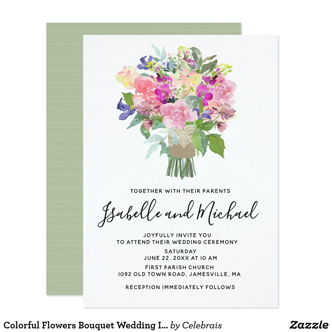 Colorful Flowers Bouquet Wedding Invitations