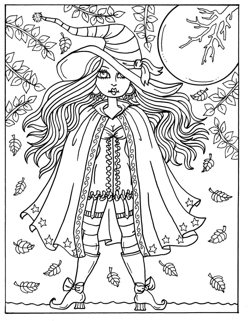 Hocus Pocus Witches Printable Coloring Pages For Adults Etsy Witch Coloring Pages Halloween Coloring Book Mermaid Coloring Pages
