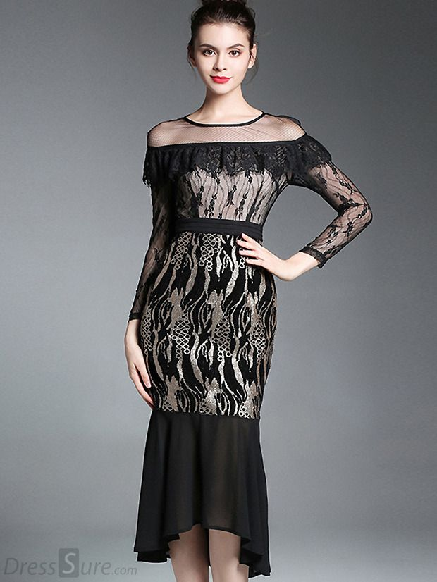 Buy Mesh Hollow Out Lace Stitching Fishtail Bodycon Dress at DressSure.com  Color Black  Size S cb184fe07