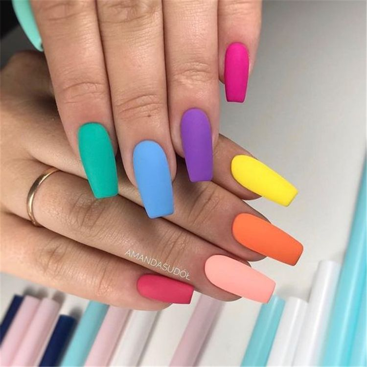 Stunning Rainbow Or Multicolored Nail Designs And Ideas For You In Summer Summer Nails Rainbow Nails Matte Nails Design Multicolored Nails Coffin Nails Matte