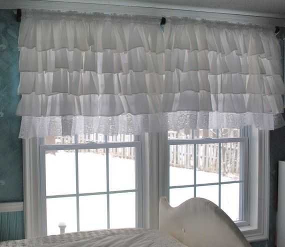 White Ruffle Curtain with Lace Trim   Ruffled curtains, Valance and ...