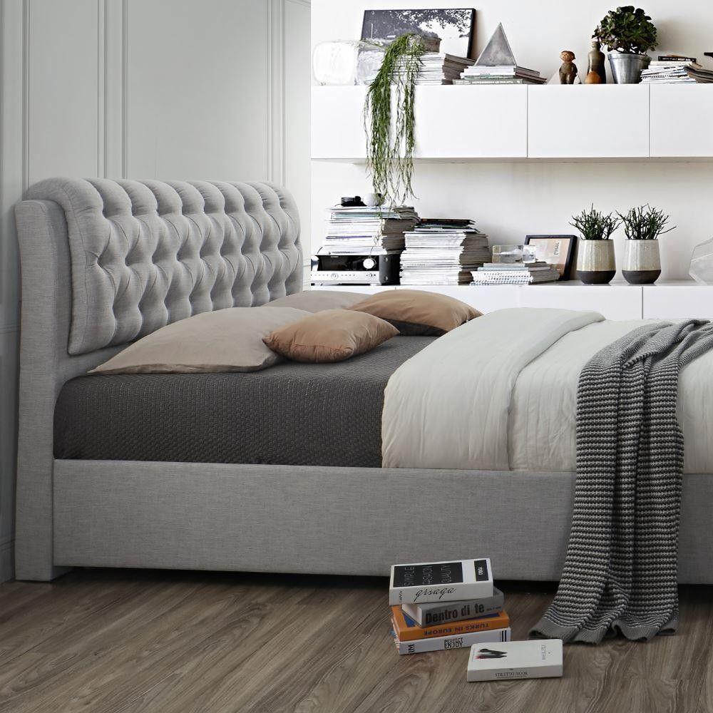 Best Valentino Light Dove Grey Fabric 2 Drawer Storage Bed In 400 x 300