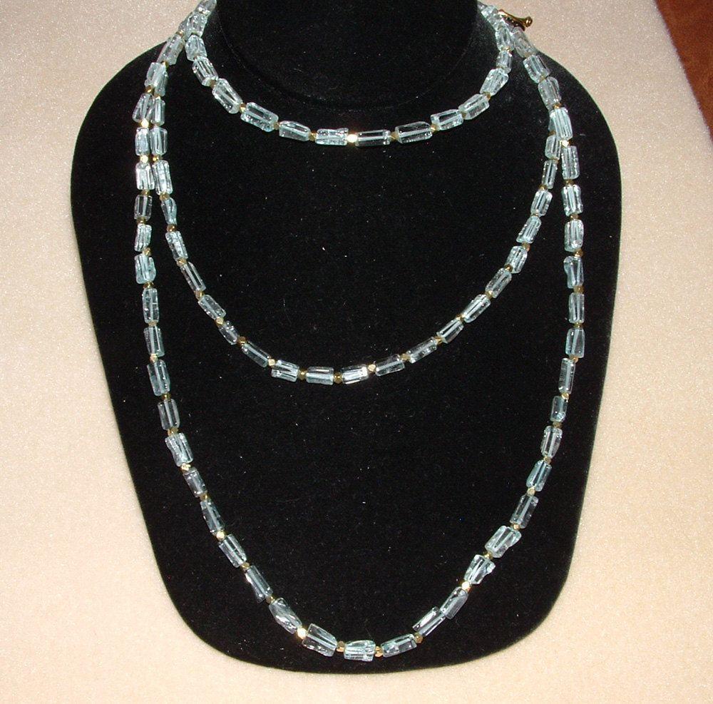 Versatile and stunning handmade 50 inch Blue Topaz and Brass Sky Dancer Strand from Alchemist's Jewels at Bonanza $117.00