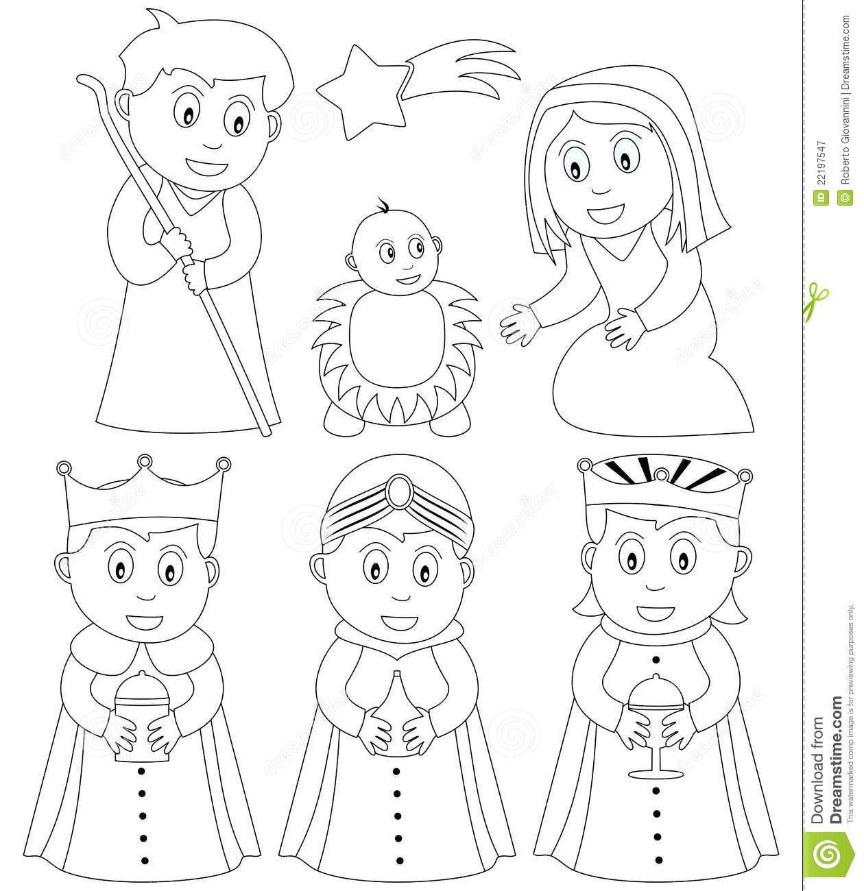 Dibujos Para Colorear Del Nacimiento De Jesus En Un Pesebre De Belen Con Recortables Para