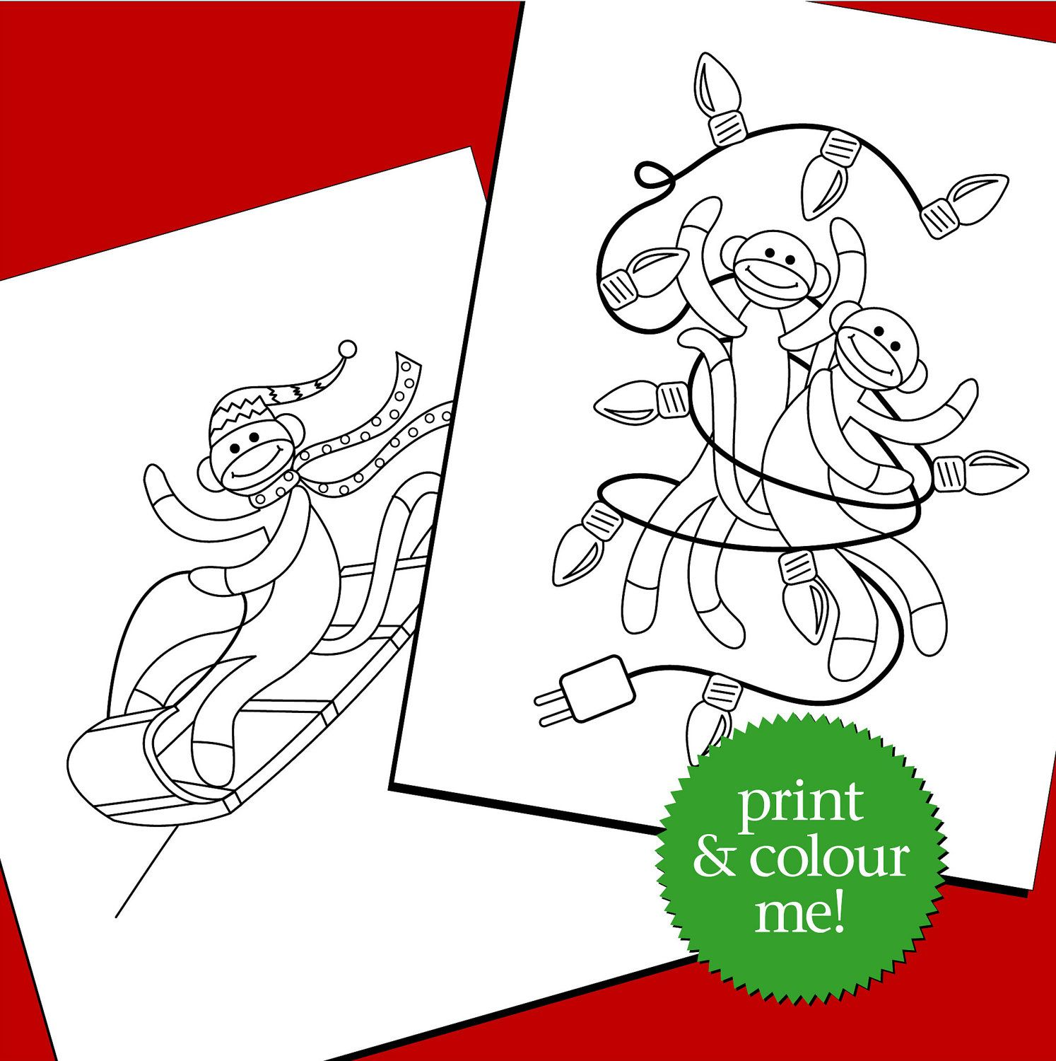 Sock Monkey Christmas Colouring Pages - printable pdf