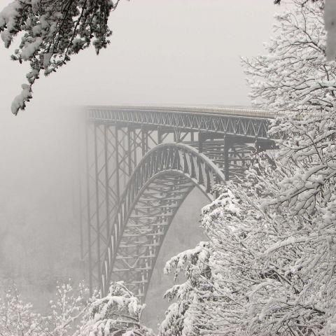 Snow covered New River Gorge Bridge -- it looked about like this the day we were there too.  In the month of March that year.