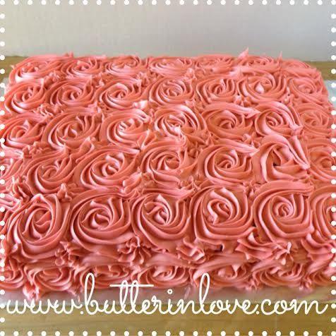 Rosette Sheet Cake Pink Rosette Dusty Rose Buttercream