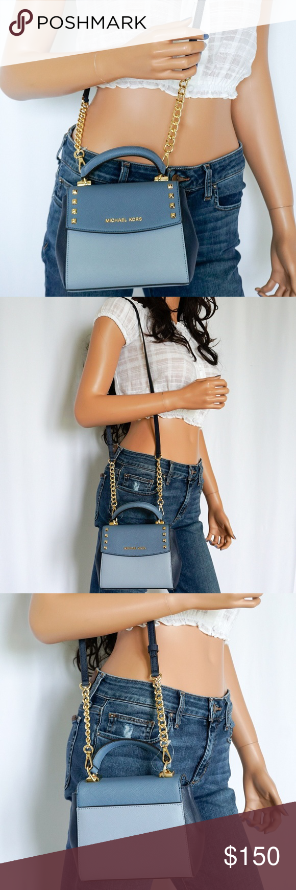 2d86273fb634 Michael Kors Karla Mini TH Leather Crossbody Bag Denim Pale Blue Saffiano  leather Gold Toned Hardware & Studs Flap Closure Custom Fabric Lining 6.5